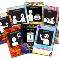 visitaal ansichtkaarten met pictogrammen