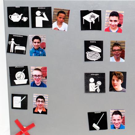 bord leerlingen pictogrammen school visitaal